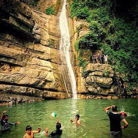 Iranian People have fun in waterfall!
