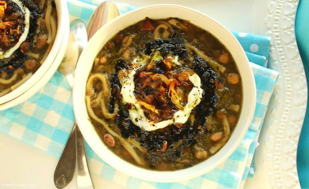 Ash e Reshteh (Noodle and Bean Soup) A richly textured soup full of noodles, beans, herbs and leafy greens like spinach and beet leaves.