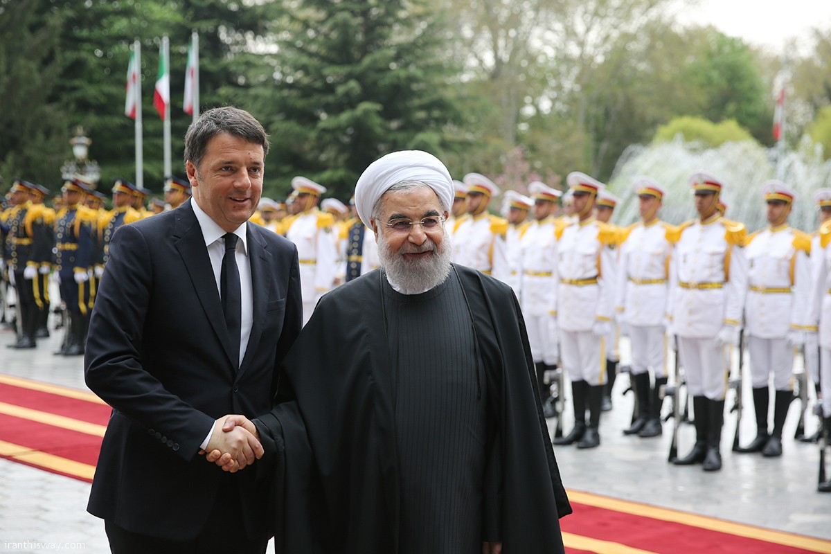 President Rouhani officially welcomed the Prime Minister of Italy Matteo Renzi in Sa'dabad Cultural Complex in Tehran on Tuesday 12 April 2016.