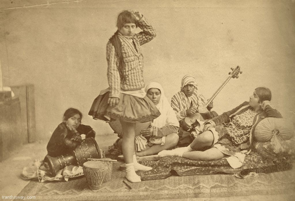 Dancers and musicians at the Qajar court, late nineteenth century .