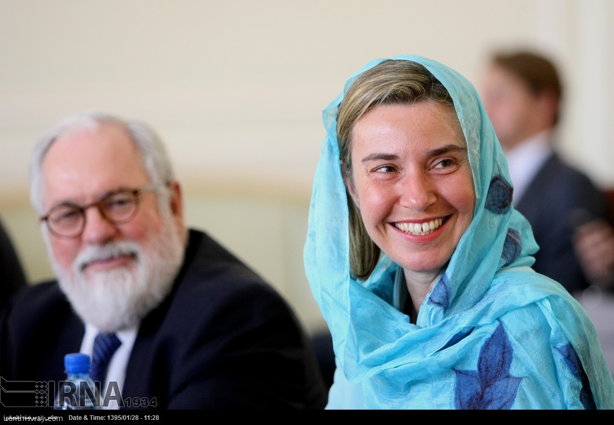 Javad Zarif iranian FM hold talks with EU Foreign Policy Chief Federica Mogherini in Tehran