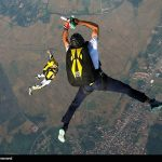 Iranian skydivers successfully parachuted from nearly 4,000 meters above the ground after jumping from a Harbin Y-12 plane.