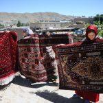 Double-sided silk rugs in Doidukh village