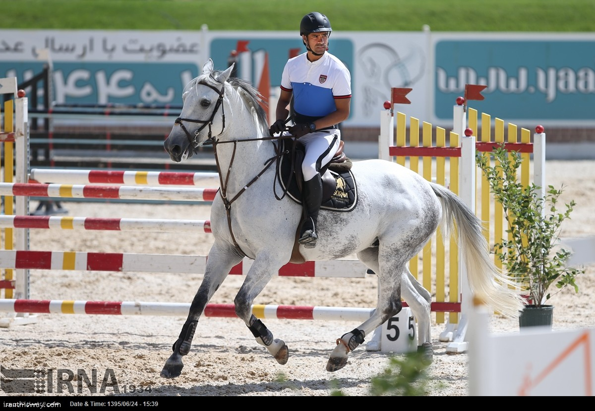 Hadi Saei the Olympic gold medalist. The International show jumping two stars (CSI2) started with jumpers from Germany, Netherlands, Luxembourg, Hong Kong and Iran on Wednesday in a Tehran.