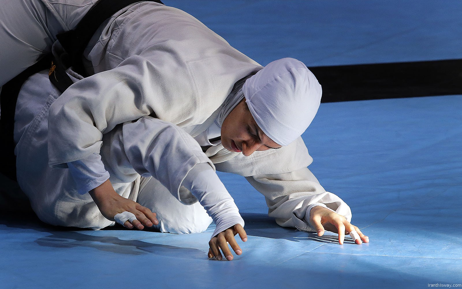 Iranian girls training grappling wrestling-Photo