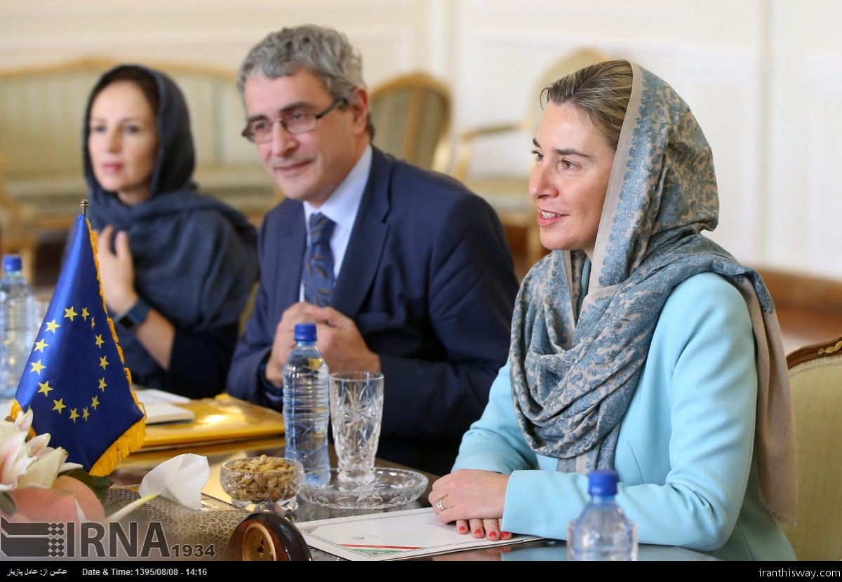 EU's foreign policy chief Federica Mogherini met and talked with Iran's Foreign Minister Mohammad Javad Zarif in Tehran.