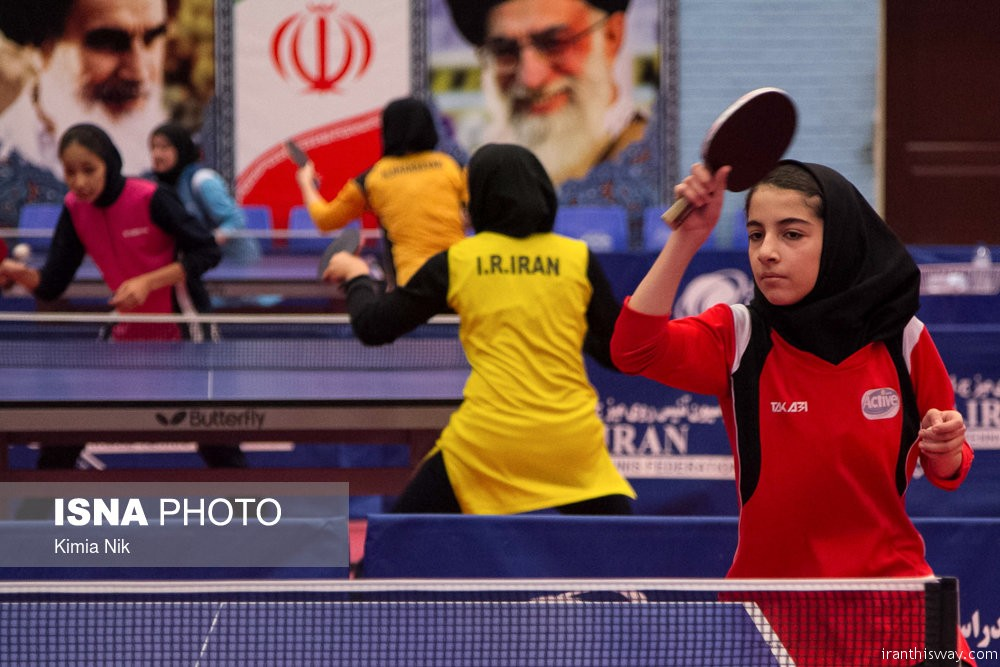 Photo: Iranian girls table tennis training