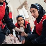 Photo: Iranian school girls training for earthquake