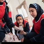 Photo: Iranian school girls training for earthquake