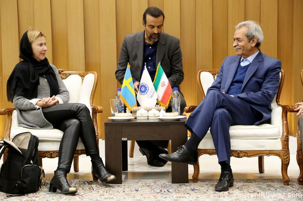 Gholamhossein Shafei and Swedish Ambassador to Tehran Helena Sångeland