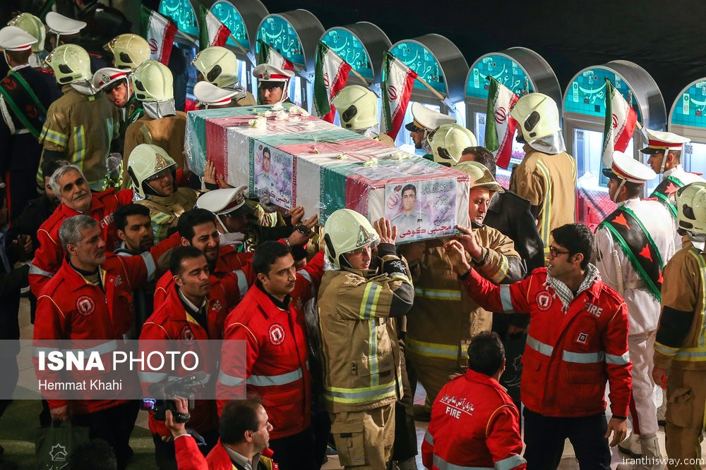 Photo: Funeral ceremony of martyred firefighters of Tehran