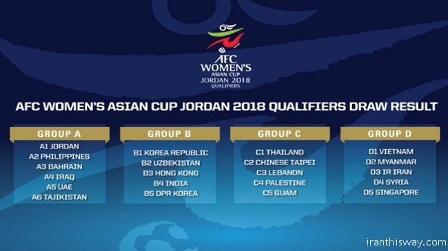 Iran as well as the other twenty nations learned their opponents for the AFC Women's Asian Cup Jordan 2018 qualifiers when the official draw was held in the Jordanian capital of Amman on Saturday.