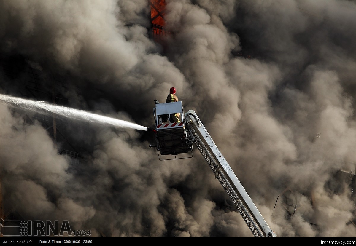 Photo: Tehran's  Plasco tower collapsed after burning+Video