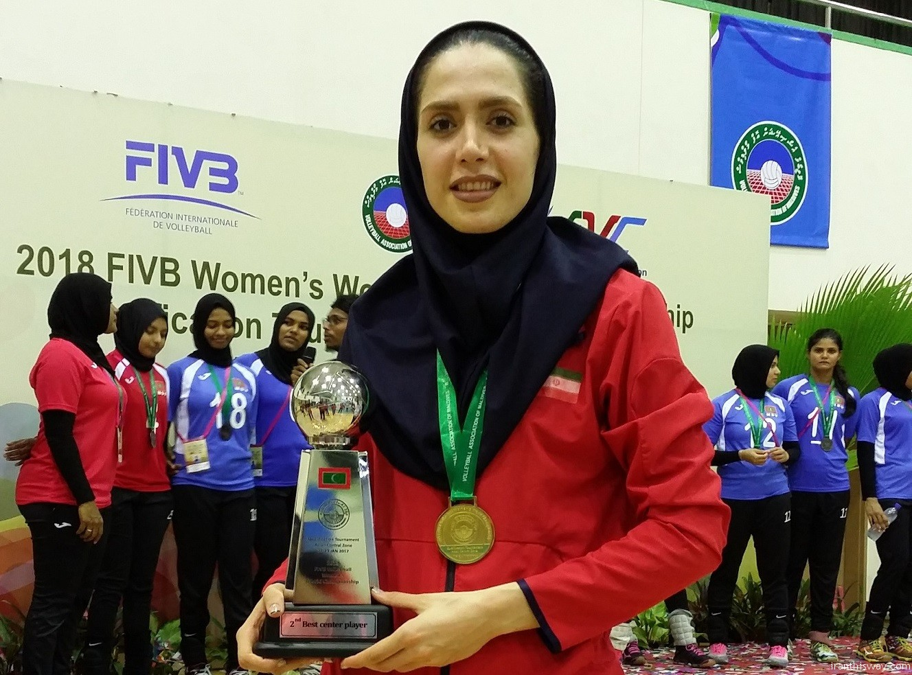 Iranian girl volleyball player Soudabeh Bagherpour has been elected as the best middle-defense player in women's world qualifiers in Central Asia, an official said.